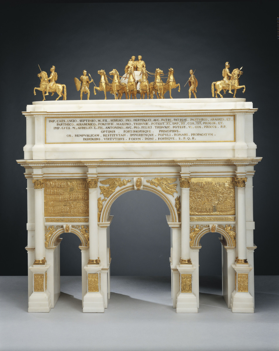 """This marble and gilt bronze model of Septimius Severus, c.1808-15, together with arches of Titus and Constantine, were made under the auspices of the Roman Academy of St Luke by the silversmiths Giovacchino Belli and his son, Pietro; 25"""" x 22-1/2"""" x 11"""". More information is here."""