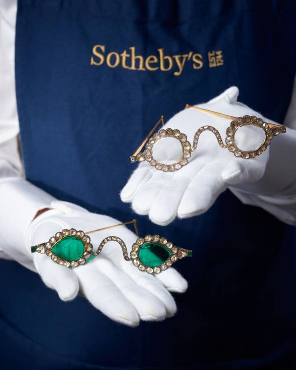 The diamond and emerald spectacles are expected to fetch up to $3.4 million each.