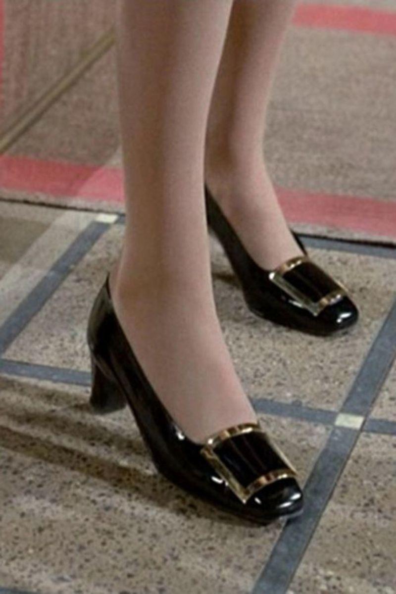 "Roger Vivier's iconic heels featuring silver buckles that Catherine Deneuve wears in ""Belle de Jour."""