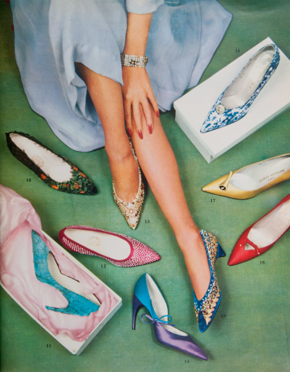 An ad in the December 1959 issue of the French fashion magazine, L'Officiel, showing a variety of Roger Vivier's shoe designs for Dior. A pair of kingfisher shoes, like the single one in the box, sold at Sotheby's in 2017 (see photo below).