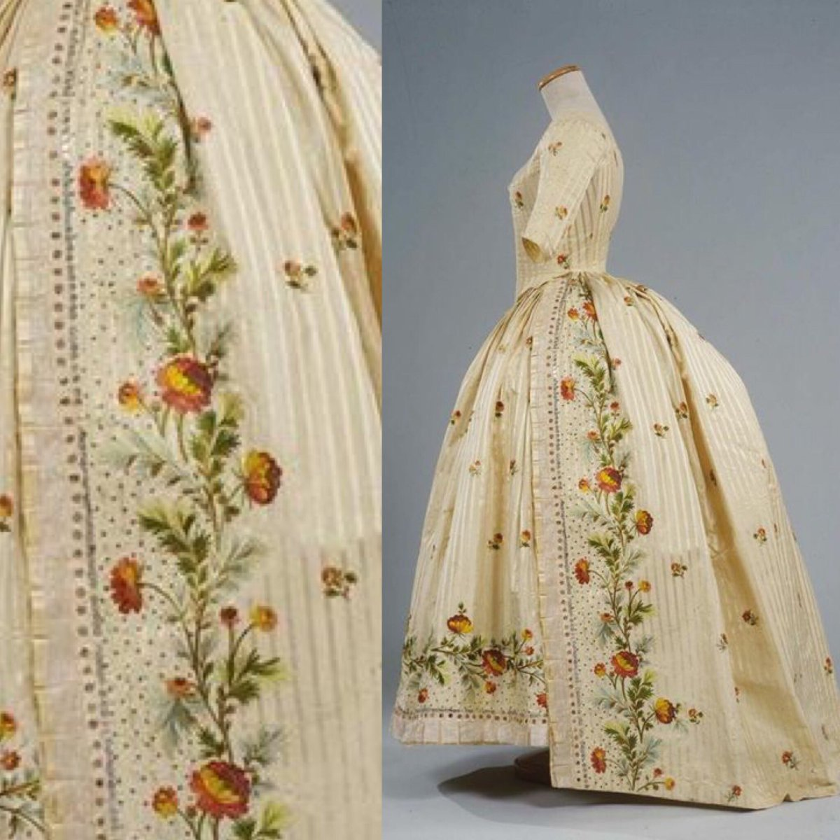 The floral embroidery that blooms on this 1780s' dress is so fine, it looks like it could have been painted. Brush strokes of tiniest satin stitch border the brocade, sprinkling its surface with color.