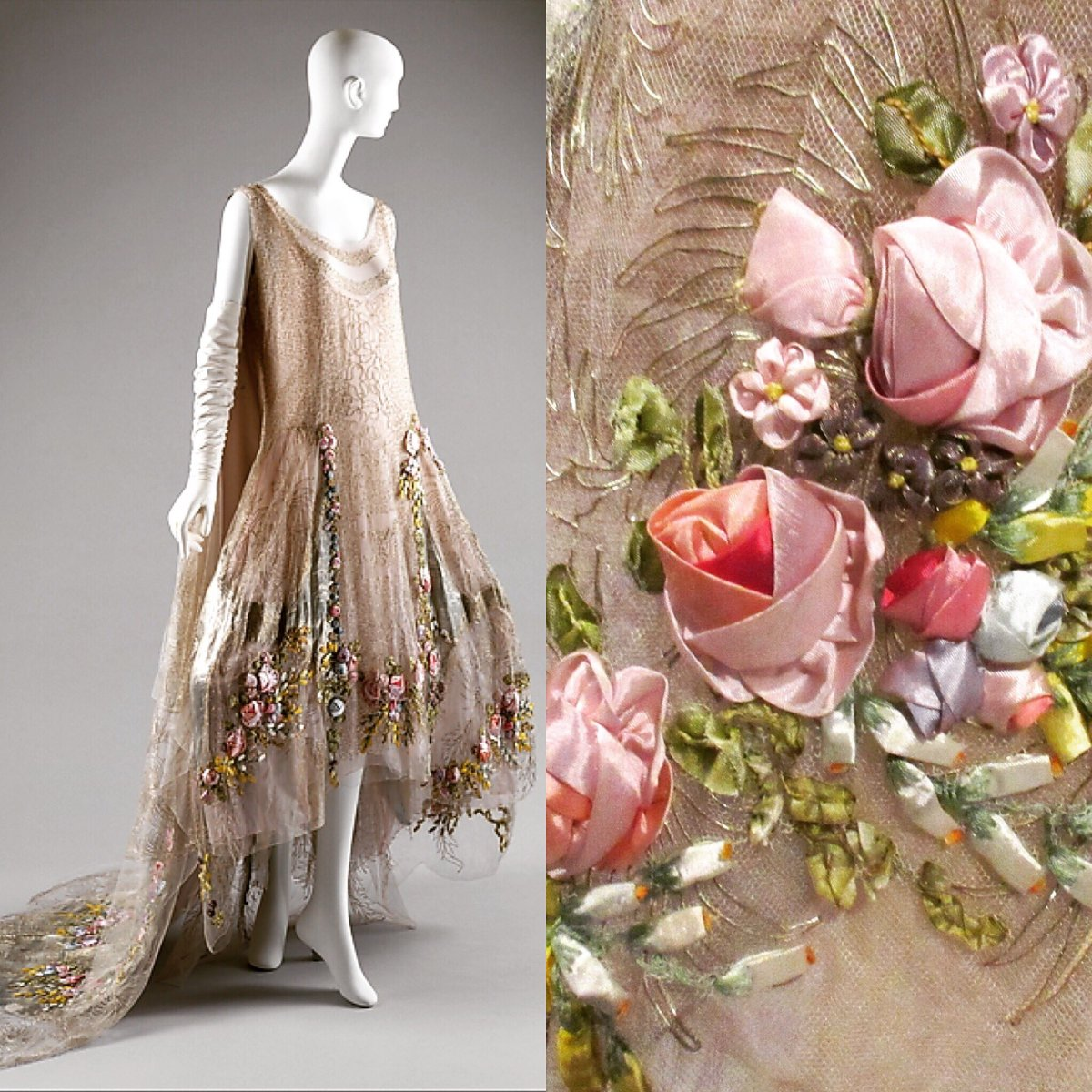 Whereas petticoats and inner structures of 18th-century clothing were solid and more or less rigid, the Boué Soeurs dress, despite the resemblance in robe-de-style silhouette, reveals its 20th-century disposition in its lingerie-like revealing lightness - like the merest trellis for an arbor of silk flowers. A penchant for sweet, three-dimensional buds is, of course, shared by the rococo and the Boué Soeurs.