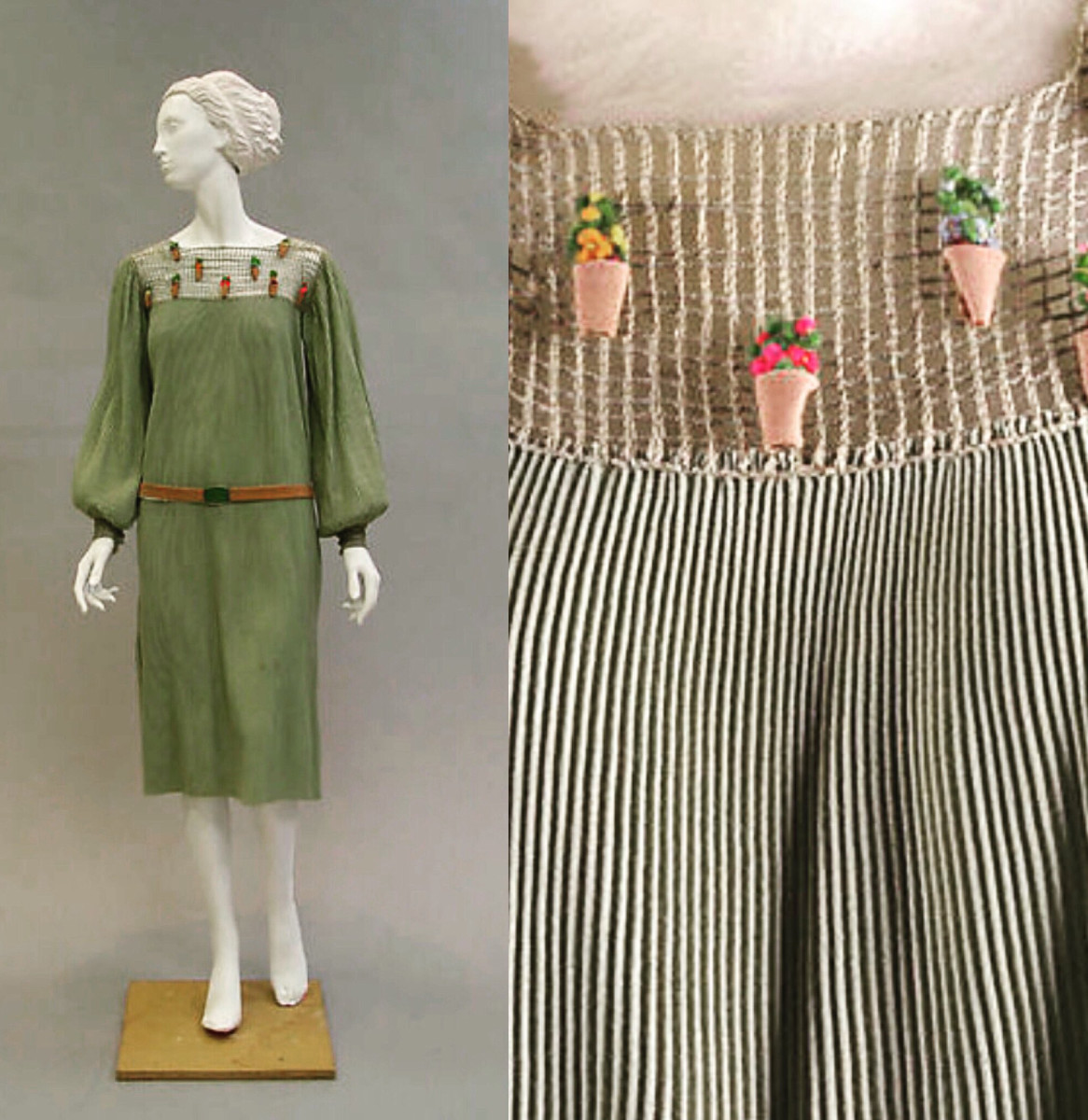 This Paul Poiret dress, 1925-26, is not only more finely pleated than it appears from a distance, but the neckline is embellished with a miniature garden of tiny flower-pots all in a row.