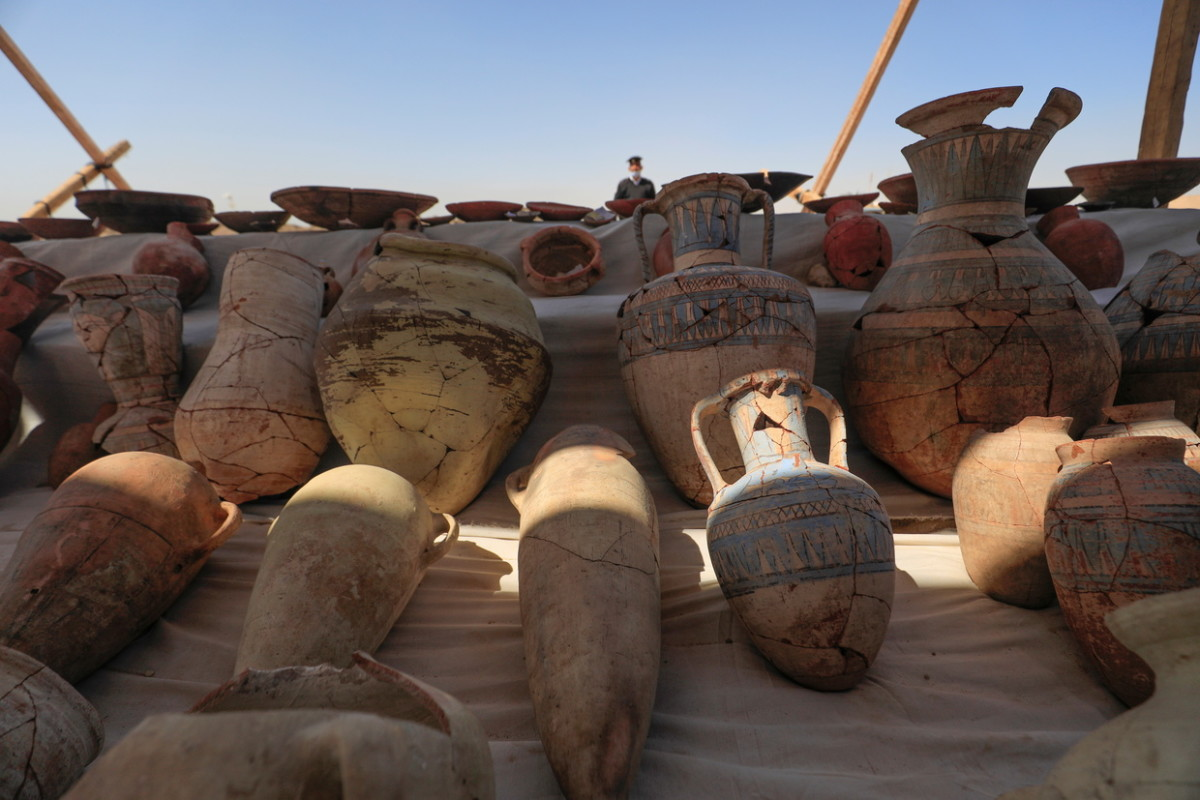Unearthed pots at the site of the lost city.