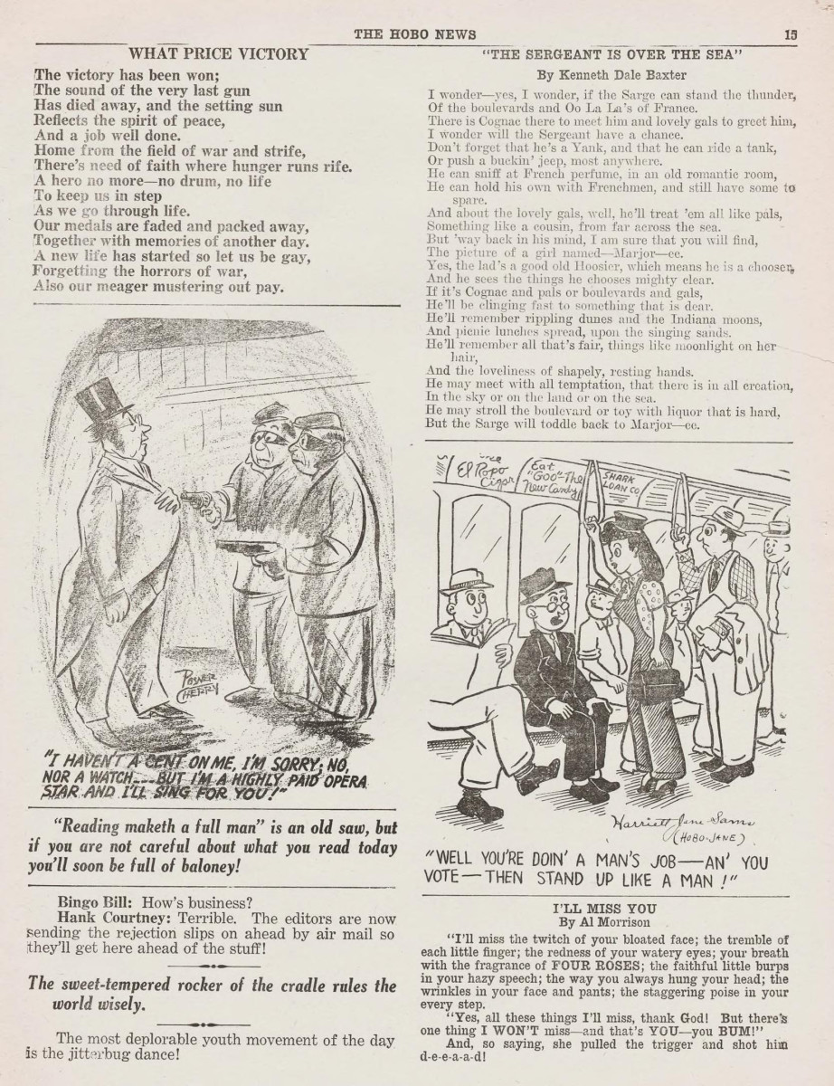 Some inside content of the January 22, 1946 issue of  The Hobo News.