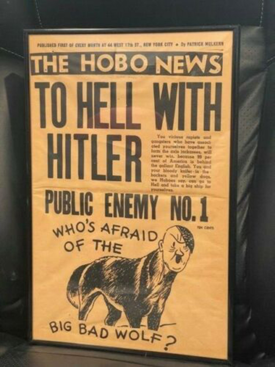 A copy of the same issue William Patrick Hitler is holding in the photo above, depicting Hitler with a wolf body and the headline, 'Who's Afraid of the Big Bad Wolf?' recently sold on eBay for $50.