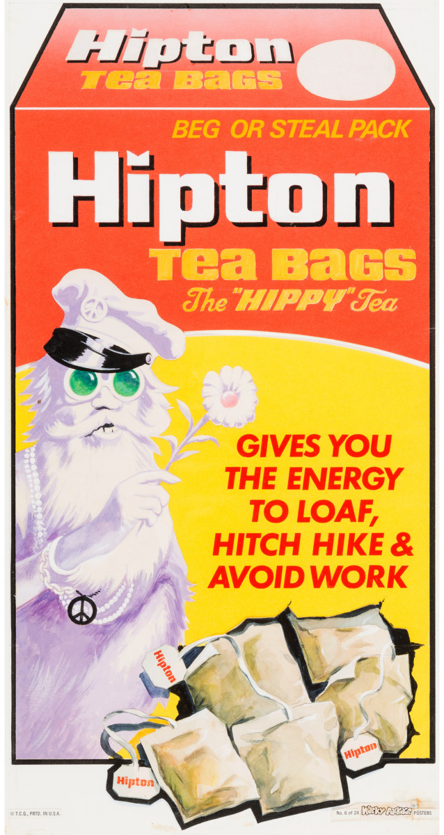 """Lipton Tea gets the Wacky-Pack treatment on this 1974 card for """"Hipton Tea Bags"""" that was #6 in a series of 24 posters by Norman Saunders, who is well-remembered as the artist on the Topps 1960s Batman trading cards; 9"""" x 17-1/2"""". This sold at Heritage Auctions for $19,120 in 2016."""