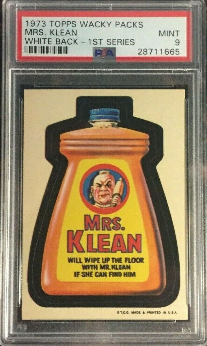 This 1973 Topps Wacky Packages Mrs. Klean, 1st Series (white back), graded PSA 9 Mint, sold on eBay in January for $1,350.
