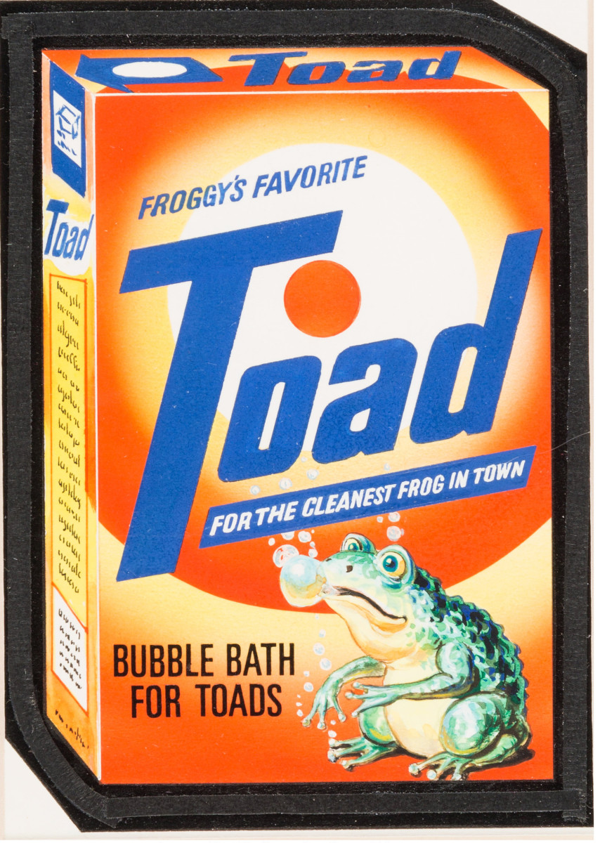 Irish Test Series Card #22 original art, 1981, of a spoof of Tide brand laundry detergent, lampooned as Toad Bubble Bath for Frogs; sold at Heritage Auctions for $14,937.