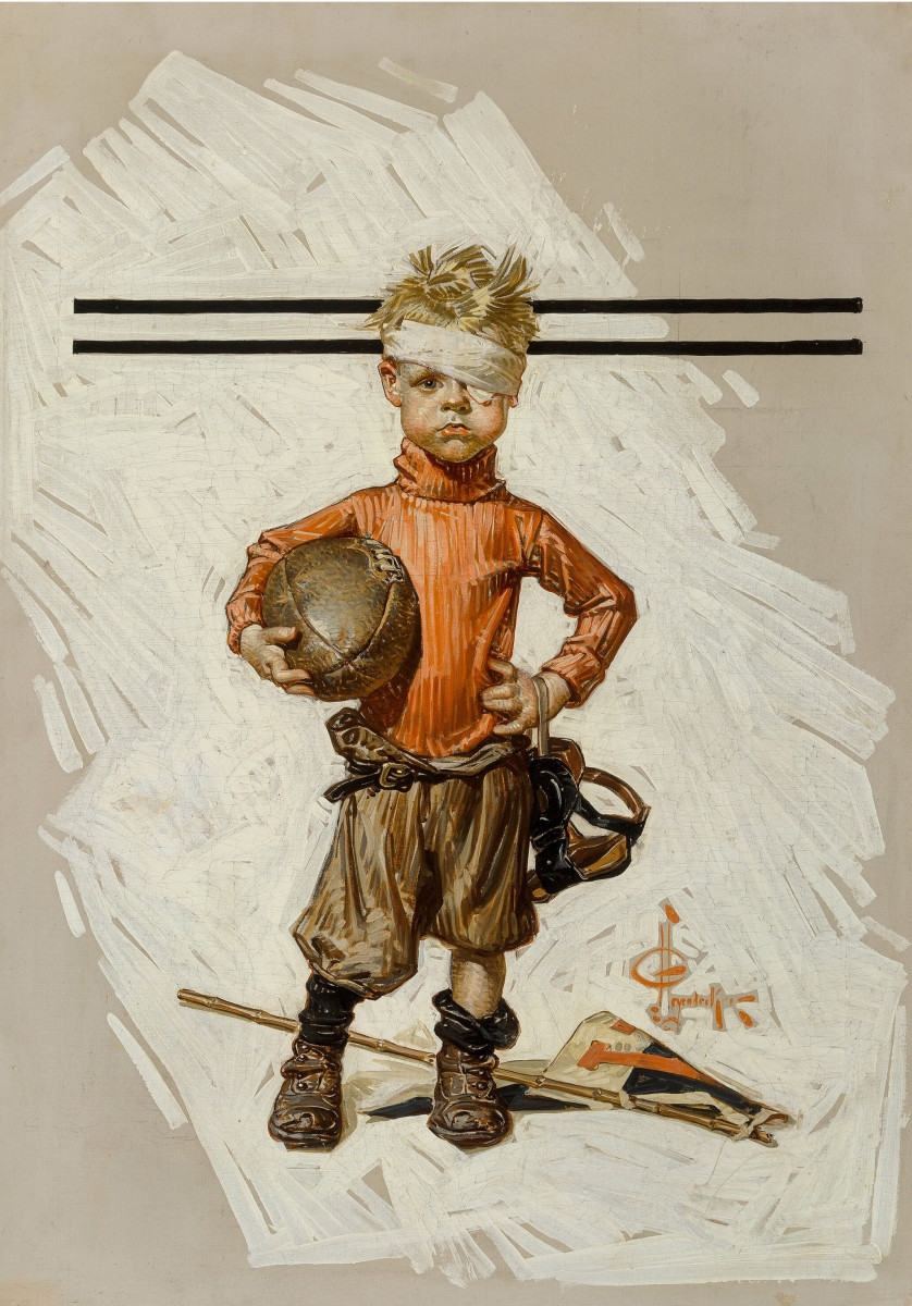Joseph Christian Leyendecker's Beat-up Boy, Football Hero, is estimated between $150,000-$250,000.