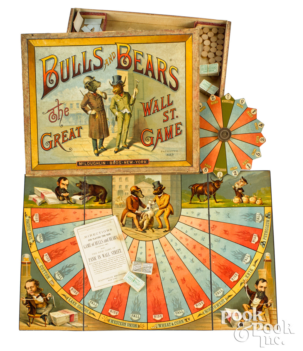 McLoughlin Bros. Bulls and Bears - The Great Wall St. Game, pat. 1883, the most desirable of games, with vibrant lithographed lid and imagery of a finely dressed bull and bear standing on Wall Street. Fold-out gameboard with comic portrait vignettes of gilded age stock market personalities -Jay Gould, Cornelius Vanderbilt and Cyrus Field, includes a large spinning board, play money, as well as original instruction booklet, box is 12'' x 15-1/4''. Estimate: $12,000-$16,000.