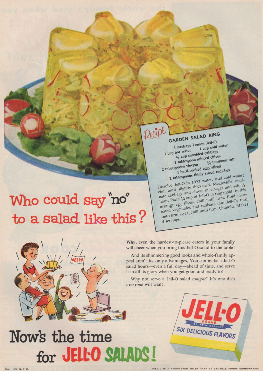 With hard-cooked eggs and radishes mixed in lemon Jell-O, who could say no to this Garden Salad Ring from 1952? Likely everyone. Vintage Jell-O ads like this sell online for between $5 to $50.