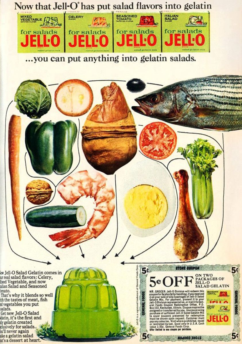 This ad below touts the new savory flavors of Jell-O that paired with pretty much any food.