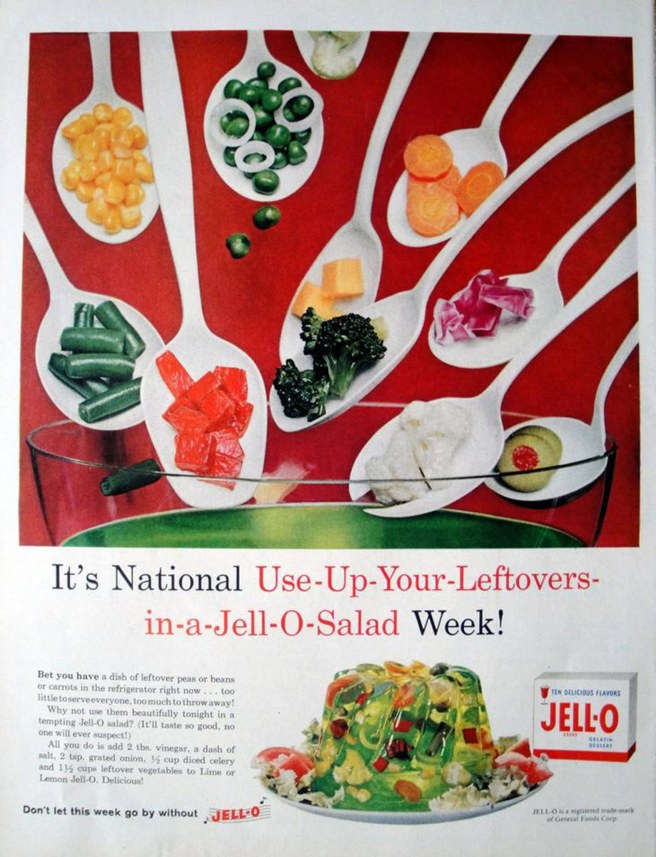 This 1959 Jell-O ad suggests ways to use leftovers.