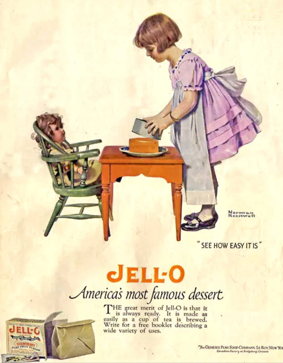 Jell-O commissioned some famous artists to do ads, including Norman Rockwell, who did this one  in 1924 of a girl serving her doll a Jell-O mold.