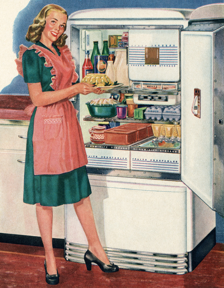 In this 1946 illustration, a homemaker gets ready to put a Jell-O mold into her refrigerator.