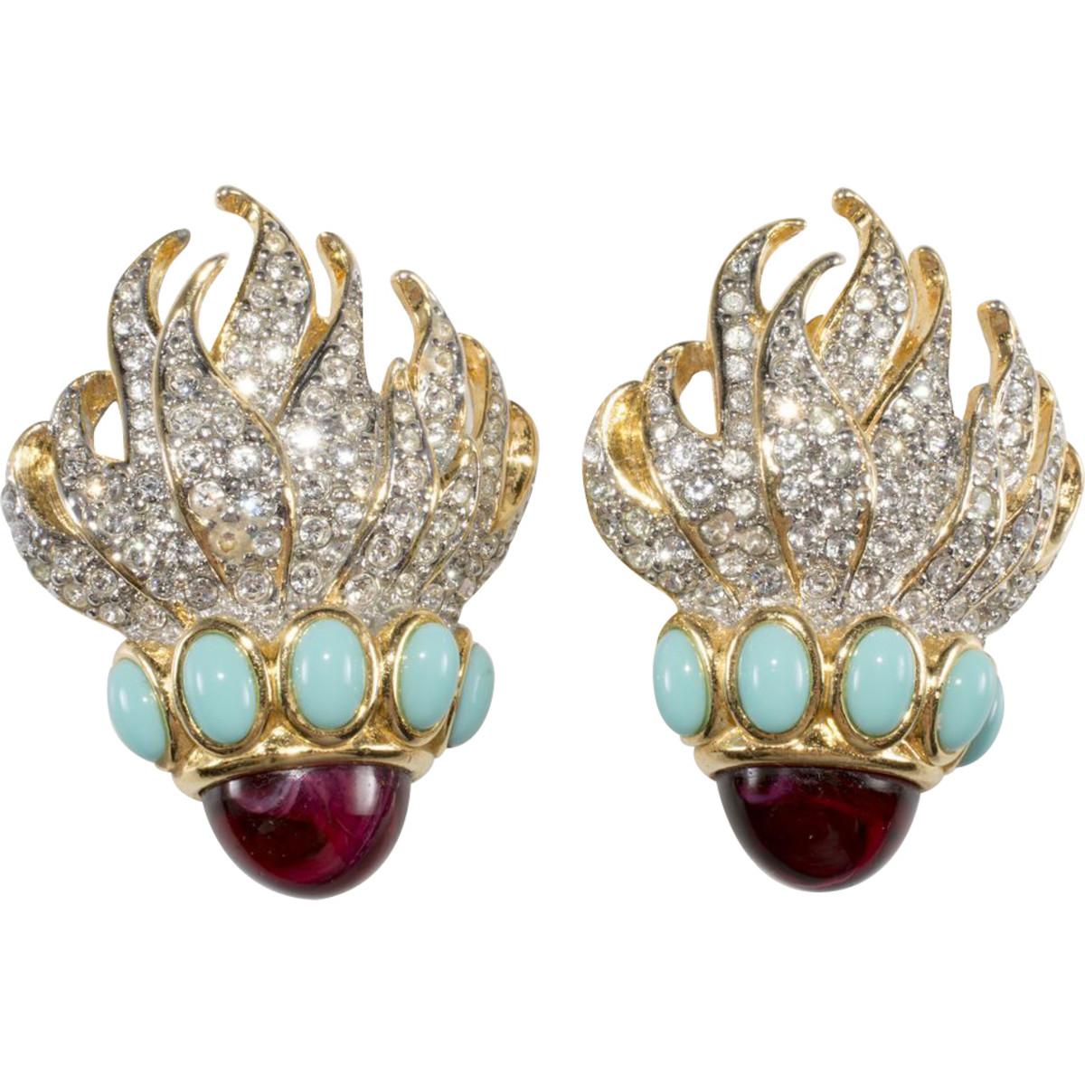 """Elizabeth Taylor Avon """"Eternal Flame"""" earrings, 1993"""
