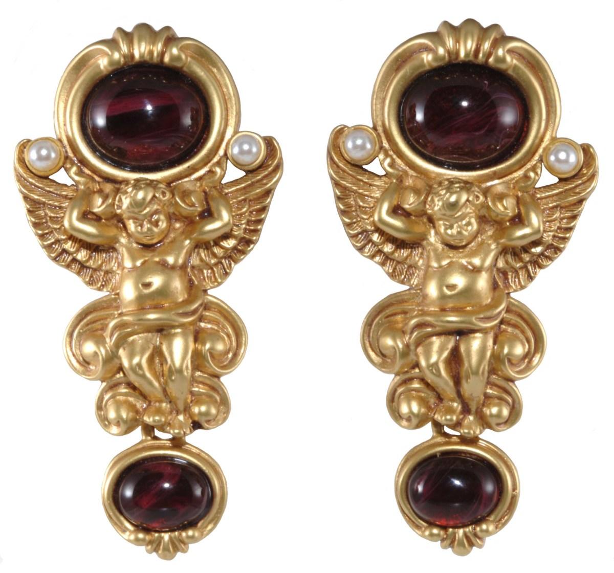 """Elizabeth Taylor Avon """"Gilded Age"""" earrings, 1994."""