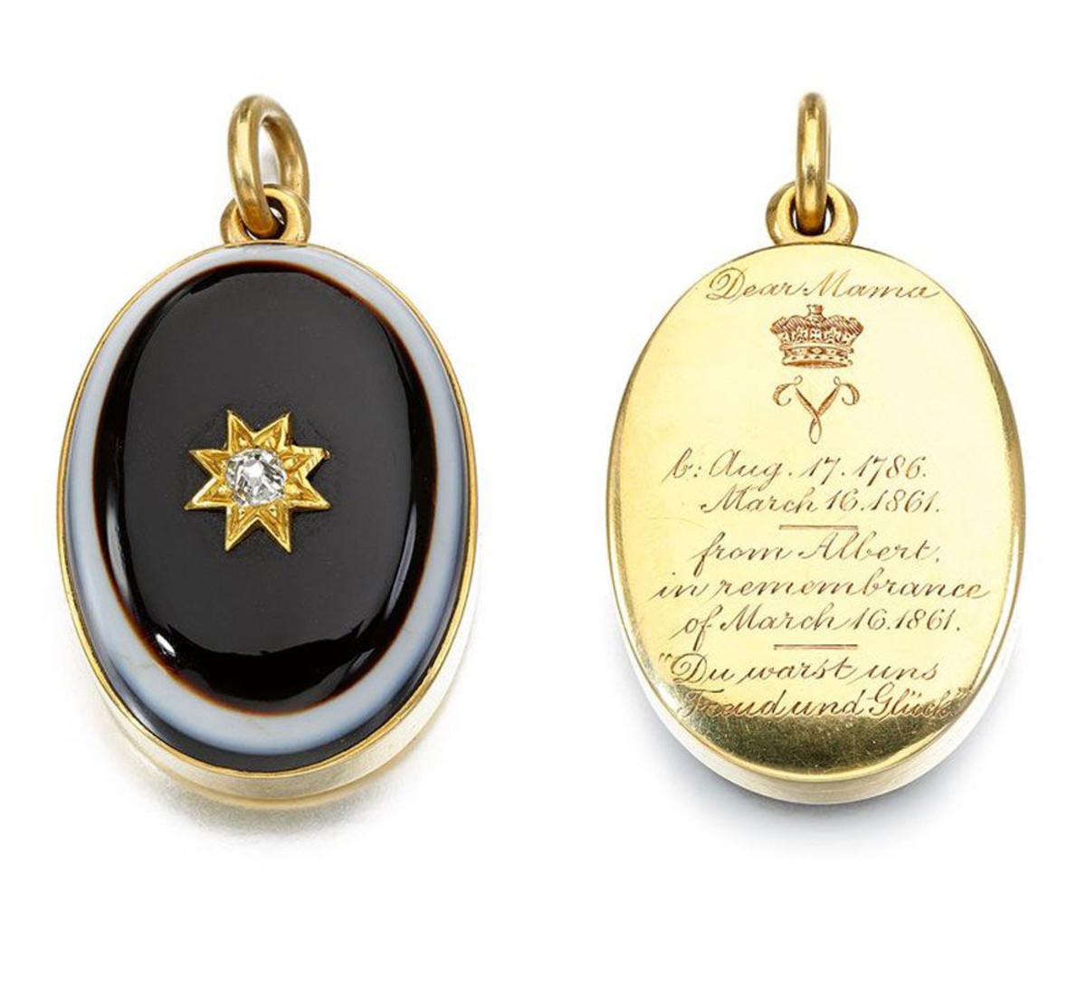 Banded agate and diamond locket, 1861, with a miniature photograph of the Duchess of Kent and a lock of hair, commissioned by Albert for Queen Victoria on the death of her mother; this sold for $45,264.