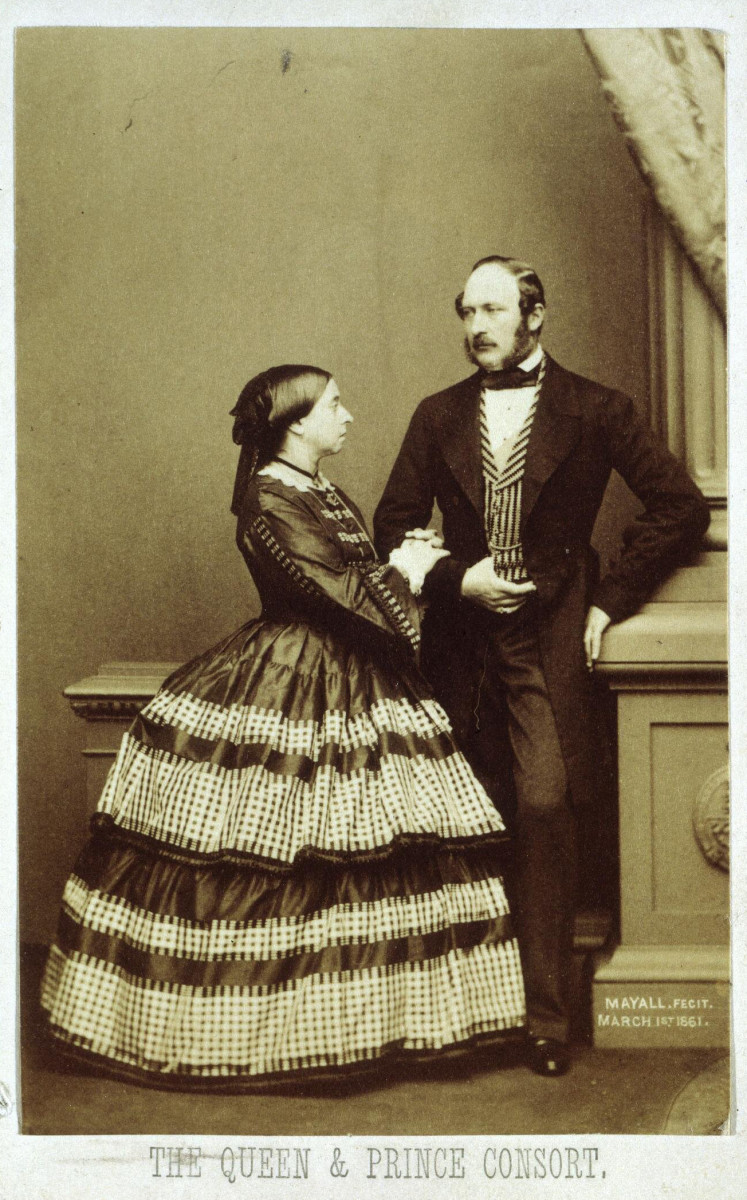 Prince Albert's death, only nine months after this photograph was taken of him and Queen Victoria in 1861 by John J.E. Mayall, created an unprecedented public demand for carte de visite portraits of the royal family and hundreds of thousands were ordered. By purchasing such images, the public demonstrated its sympathy and shared in a form of public mourning. It was fashionable to collect cartes de visite and compile them in albums, and the queen herself had over 100 albums in which she collected portraits from every foreign court.