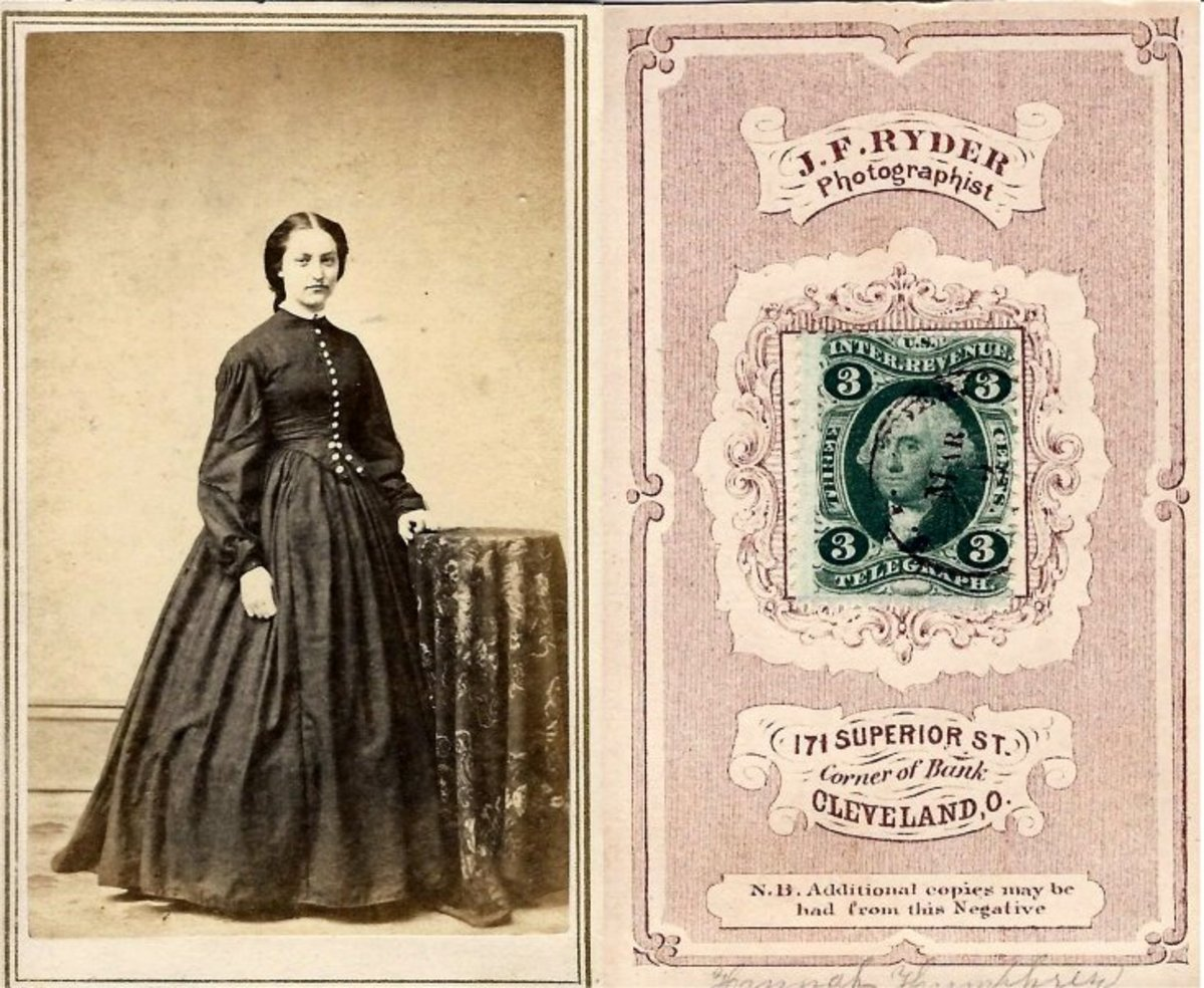 """Photographer J.F. Ryder canceled this green 3-cent """"Telegraph"""" stamp for the carte de visite he took of this woman."""