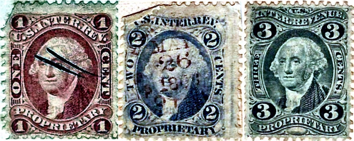 Propriety Revenue Stamps in three different denominations: one-cent red, hand-canceled with a double slash; two-cent blue, rubber stamp-canceled with a date of May 26, 1865; and a three-cent green, which the photographer neglected to cancel.