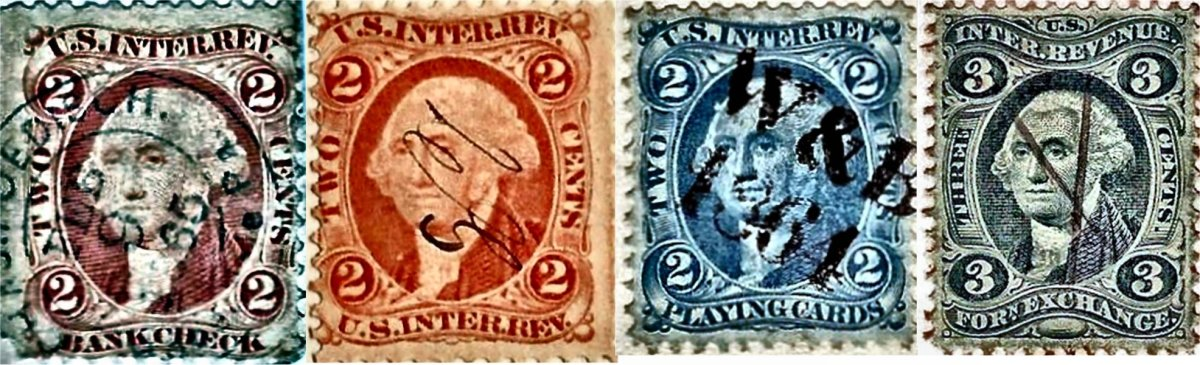 """There was no specific stamp printed to use on photographs; consequently, a variety of tariff stamps were used interchangeably, such as the two-cent, green """"Bank Check,"""" the two-cent, orange """"U. S. Inter. Rev.,"""" the two-cent, blue """"Playing Cards,"""" and the three-cent, green """"Forn. Exchange."""""""