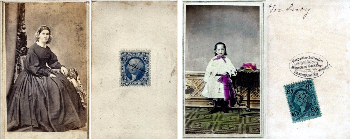 """The carte de visite on the left bears a blue, two-cent """"Playing Card"""" revenue stamp, while the carte de visite on the right bears a green, three-cent """"Proprietary"""" revenue stamp. Although they are the same in terms of size, the photo  on the right is hand-colored and so was taxed at a higher rate."""