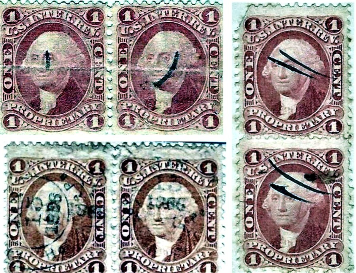 The rarely used one-cent red stamps (two horizontal and one vertical pair) indicate a date after March 1865. One horizontal pair (top left) and vertical pair (at right) are hand-canceled, while the second horizontal pair (bottom left) is rubber stamp-canceled February 15, 1866.