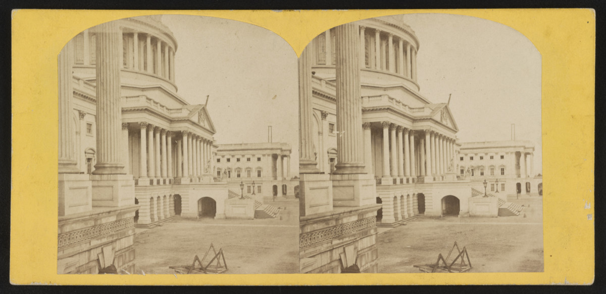 A carte de visite of the north front of the U.S. Capitol, Washington, D.C., circa 1865. The canceled stamp,  shown below, is a blue 2-cent Proprietary one.