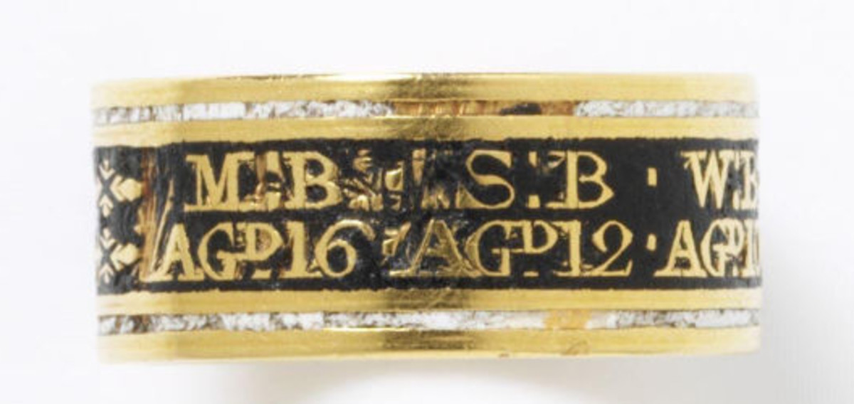 This mourning ring is inscribed with the initials of seven children in the same family, aged 2 to 16, who died within the space of a week in 1801. They likely perished in a smallpox or cholera outbreak.