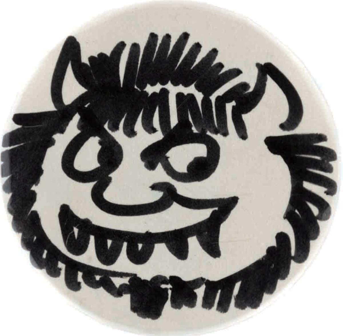 Hand-drawn button Maurice Sendak gave Ted Hake.