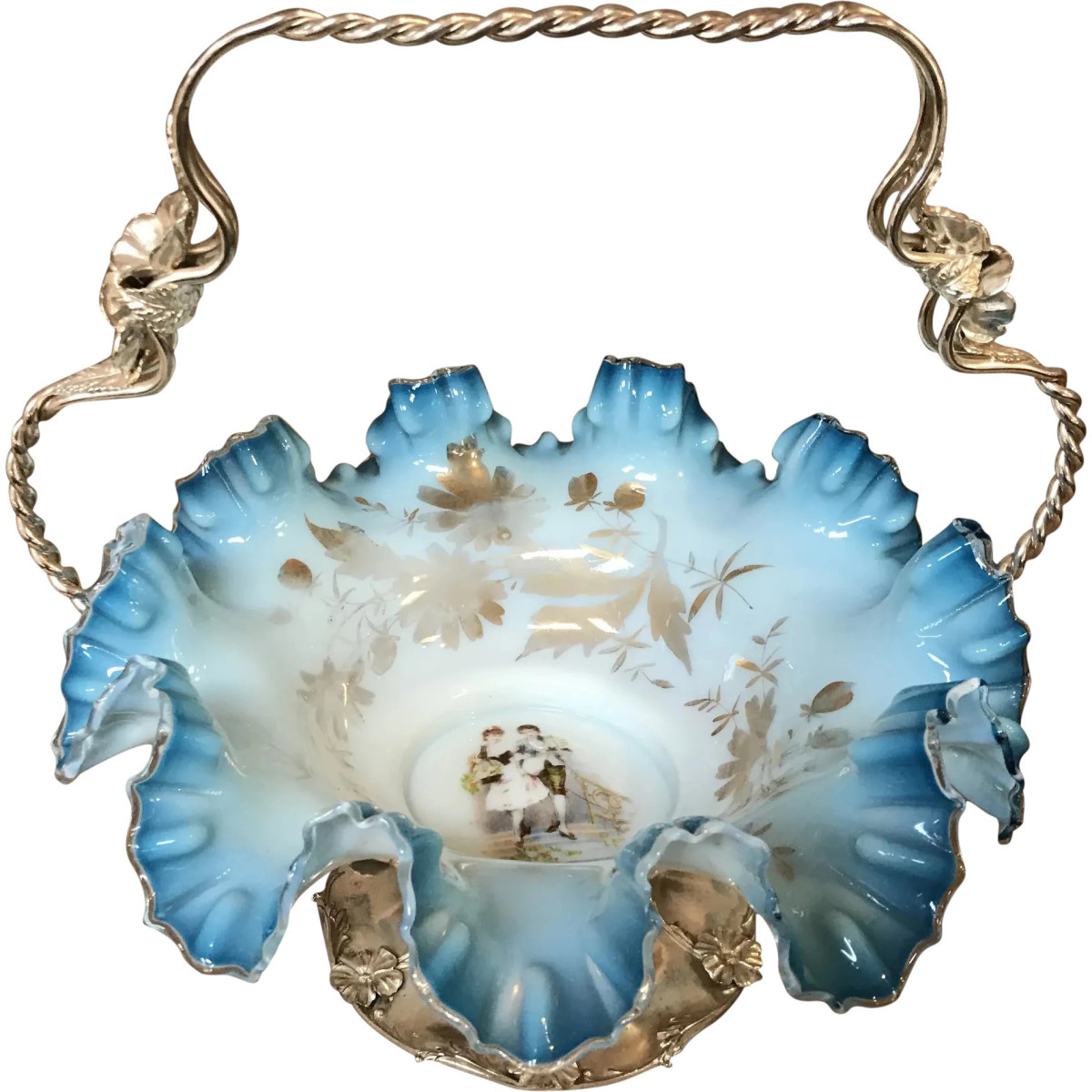 """Victorian blue ruffled-edge bride's basket with quadruple-plated stand, Forbes Silver Co., hand painted with a man, woman and gold leaf, ornate stand has a twist design  and flowers, 12-1/4"""" x 12-1/2""""; $1,095."""