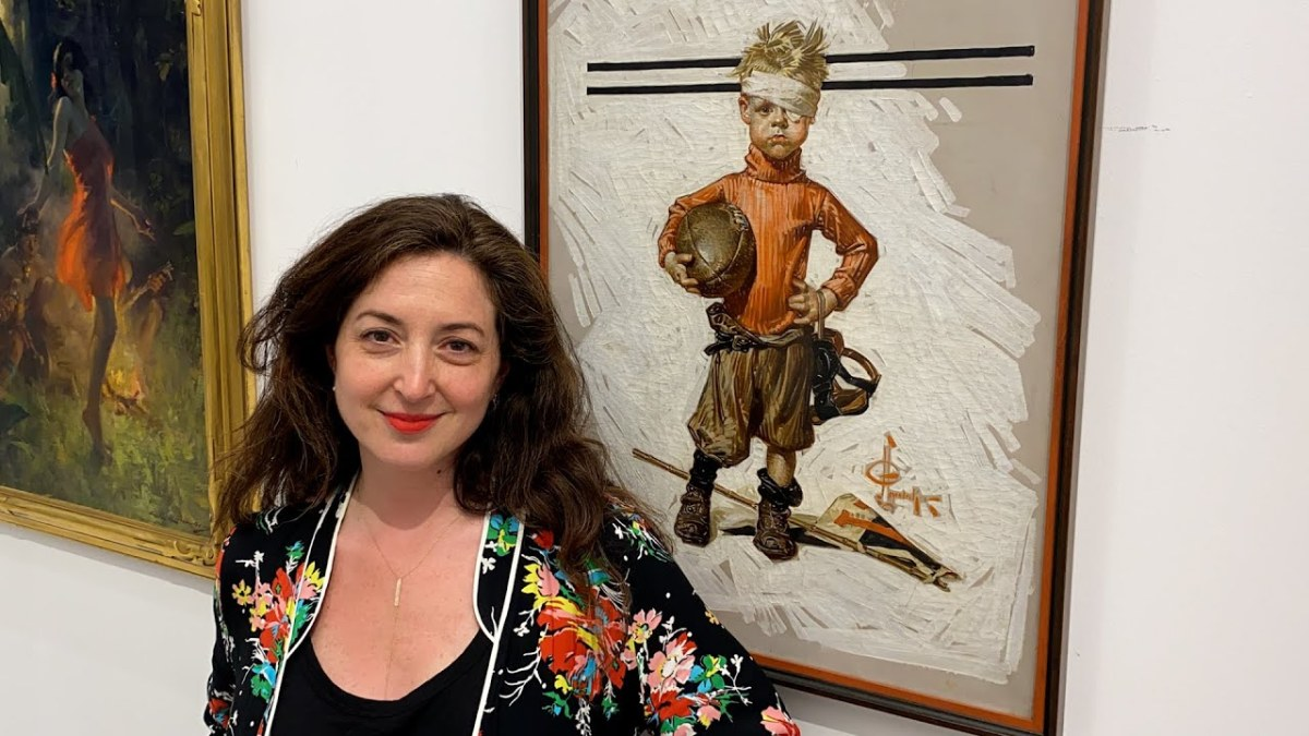 Aviva Lehmann, Heritage Auctions' New York City-based Director of American Art, pictured with the record-setting painting.