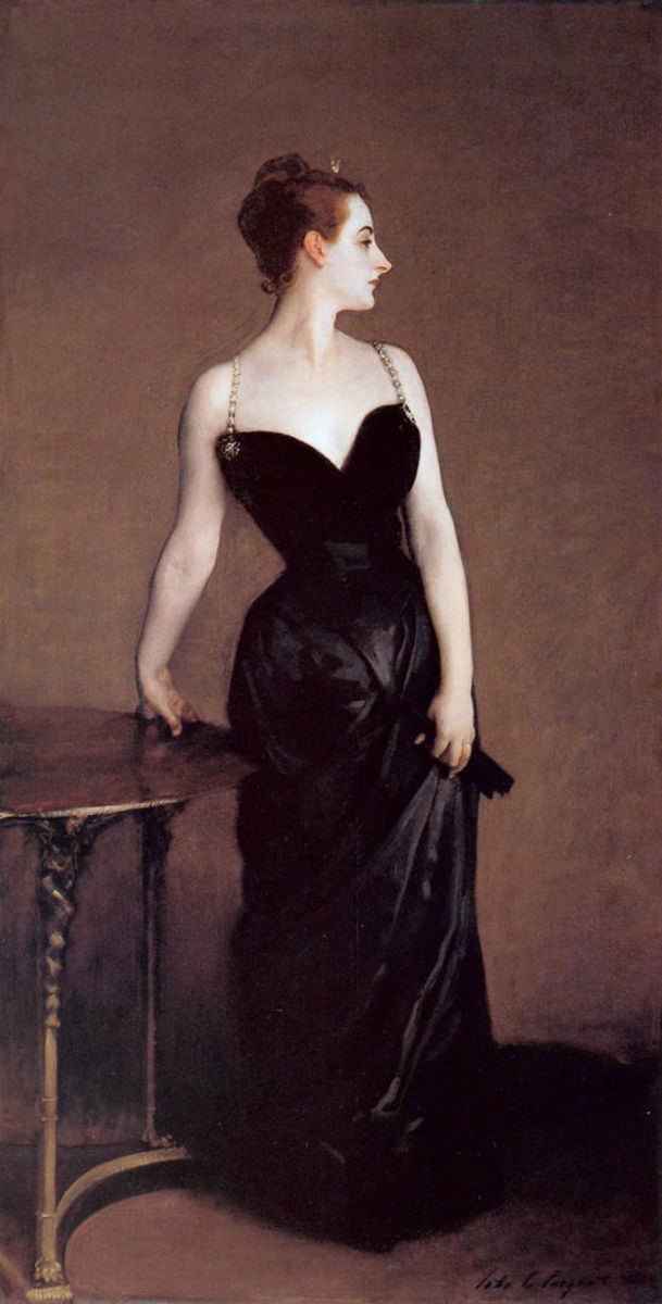 """John Singer Sargent's """"Madame X,"""" with both shoulder straps in proper place; 82-1/8"""" x 43-1/4"""". This is now in the collection of the Metropolitan Museum of Art, New York."""