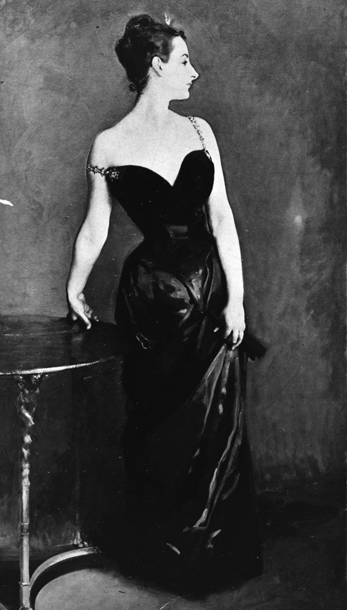 The original version of Madame X with the scandalous dress strap falling off one shoulder.