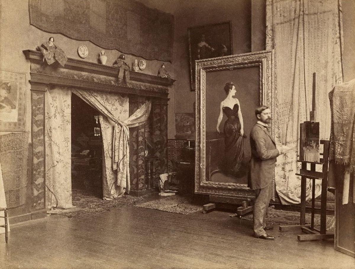 John Singer Sargent in his Paris studio, circa 1883-1884.