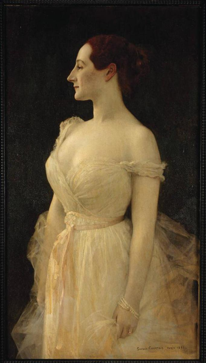 French artist Gustave Courtois' painting, Madame Gautreau, 1891. The slipped strap in this painting didn't cause outrage.