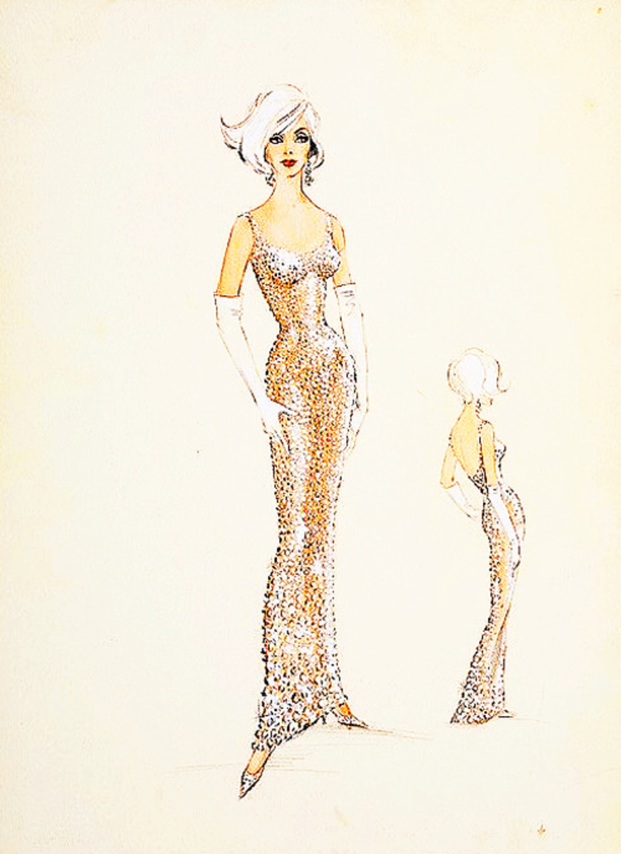 Designer Bob Mackie's sketch of the dress.