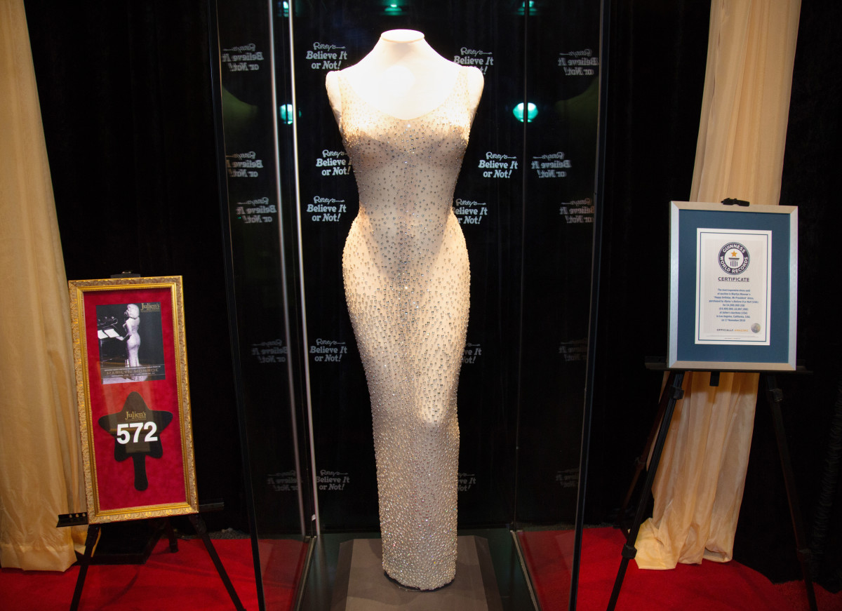 """The historic """"Happy Birthday"""" dress at Ripley's Believe It Or Not in Hollywood in 2018."""