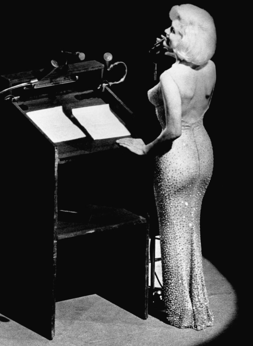 "Marilyn Monroe singing ""Happy Birthday"" toPresident John F. Kennedy at Madison Square Garden."