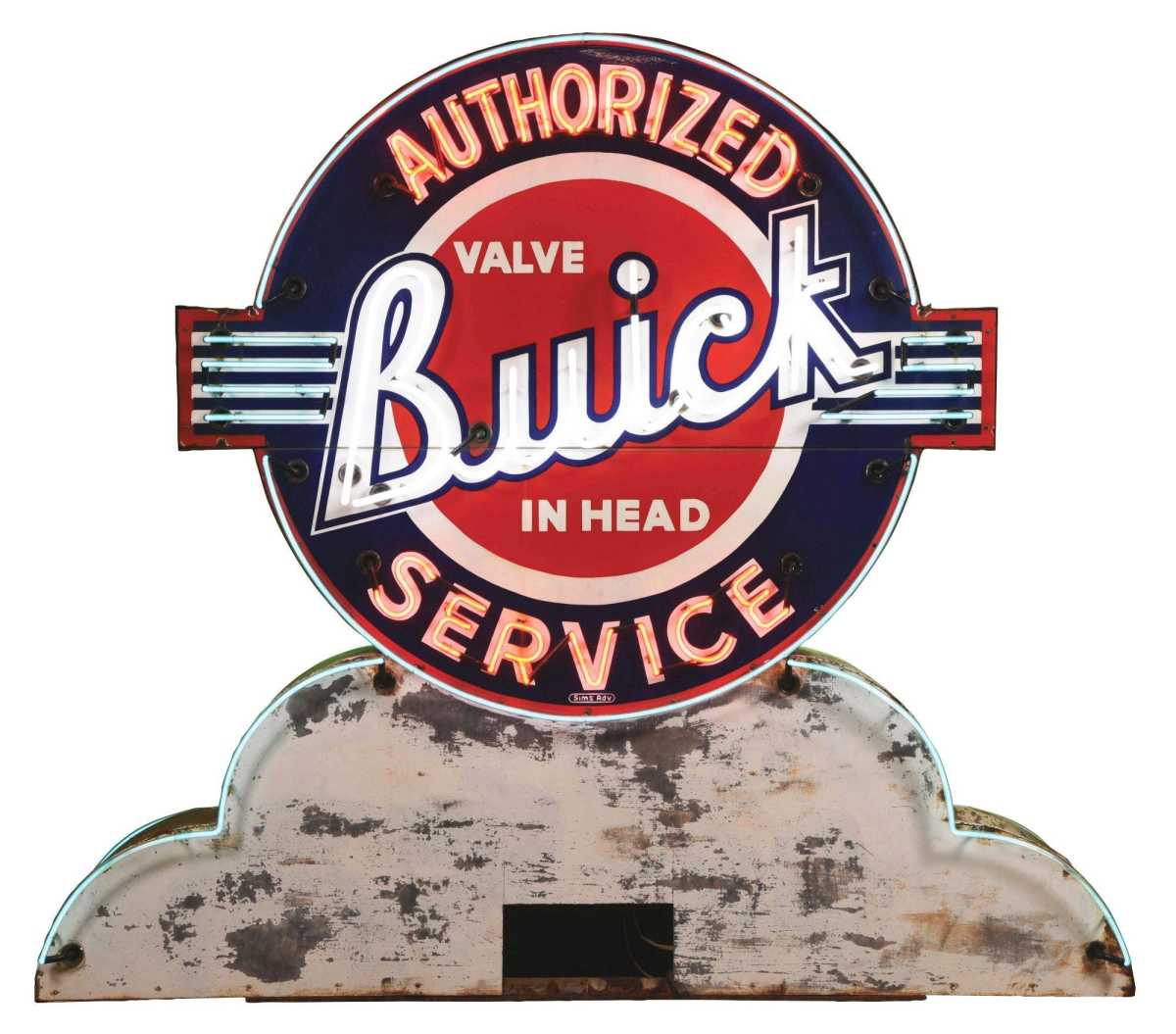 This rare double-sided Chevrolet Super Service and Buick Authorized Service porcelain neon sign sold for $45,600 against an estimate of $15,000-$30,000.