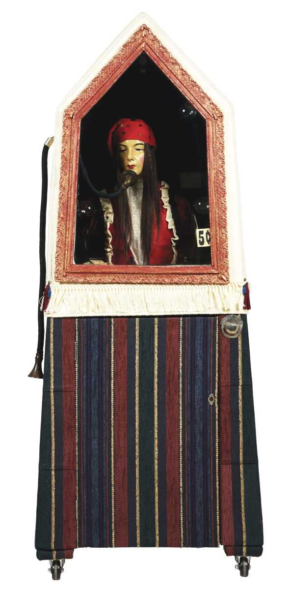 Extremely rare Esmeralda 5-cent fortune teller, manufacturer unknown, accompanied by cylinder record player and record, sold for $78,000 against an estimate of $20,000-$35,000.