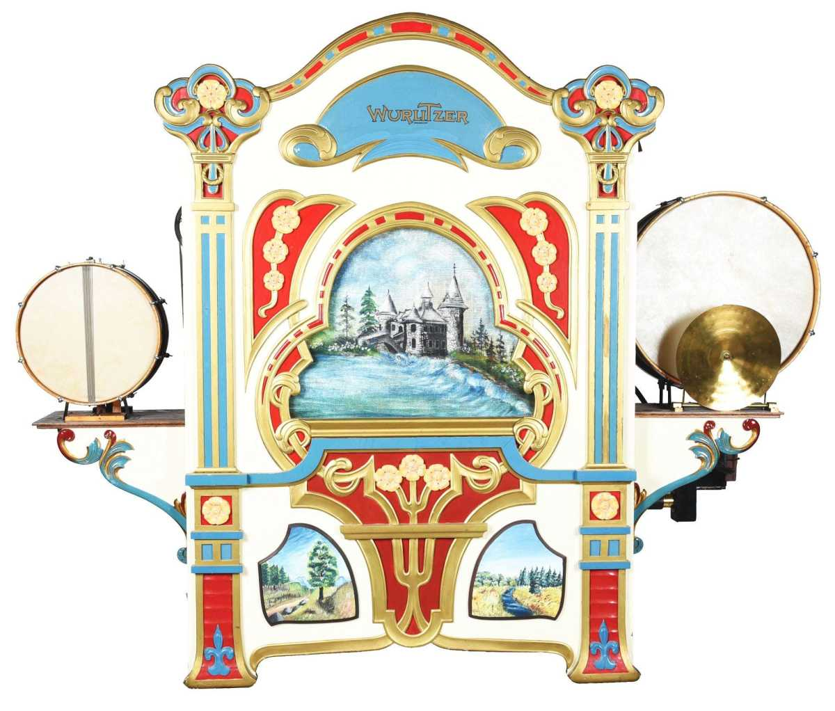 Wurlitzer Style No. 146A military band organ with a full complement of keys, drums, horns and pipes, a model manufactured in the second and third decades of the 20th century sold above estimate for $21,600.