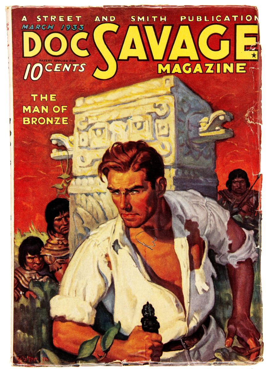 Doc Savage - March 1933 (#1) (Street & Smith), VG/FN. This historic debut issue of the iconic hero pulp series, featuring a classic Walter Baumhofer cover, sold for a record $33,600.