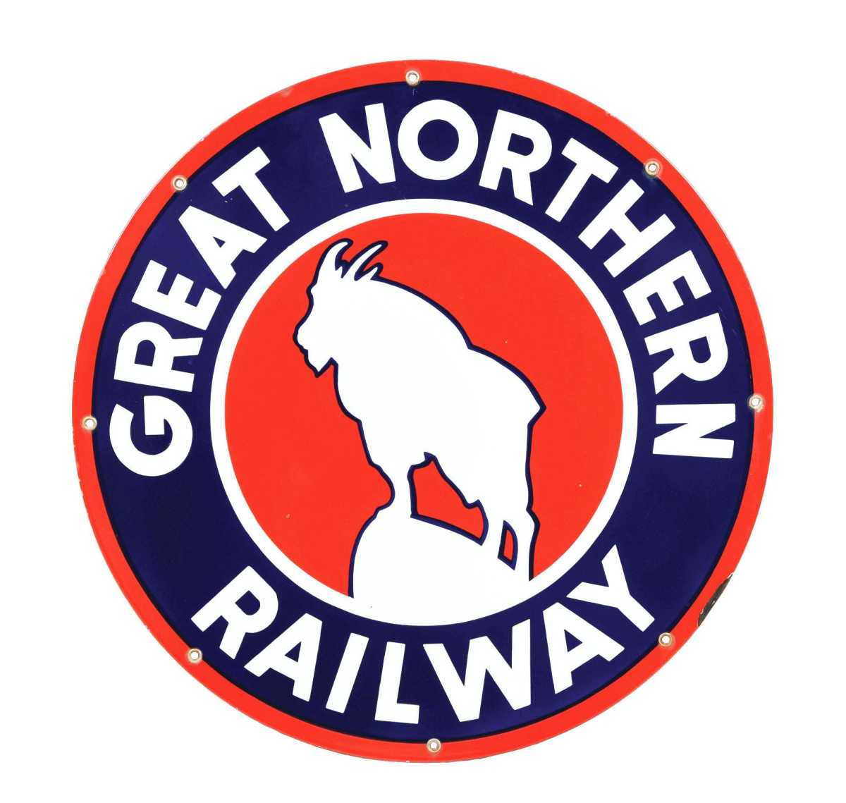 Great Northern Railway porcelain sign with mountain goat graphic sold above estimate for $6,600.