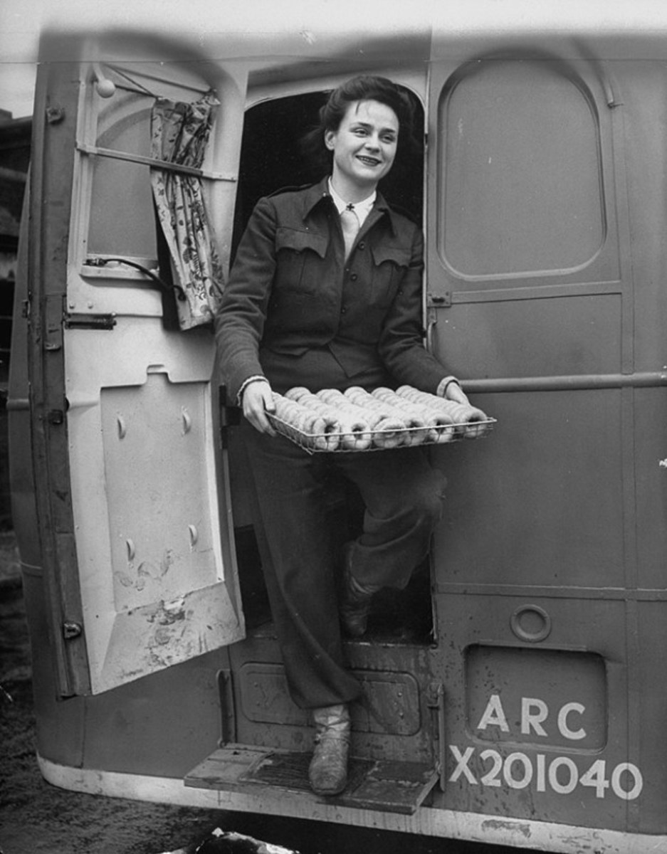 Katherine Spaatz was the youngest member of the Red Cross Clubmobile, here with a batch of donuts.