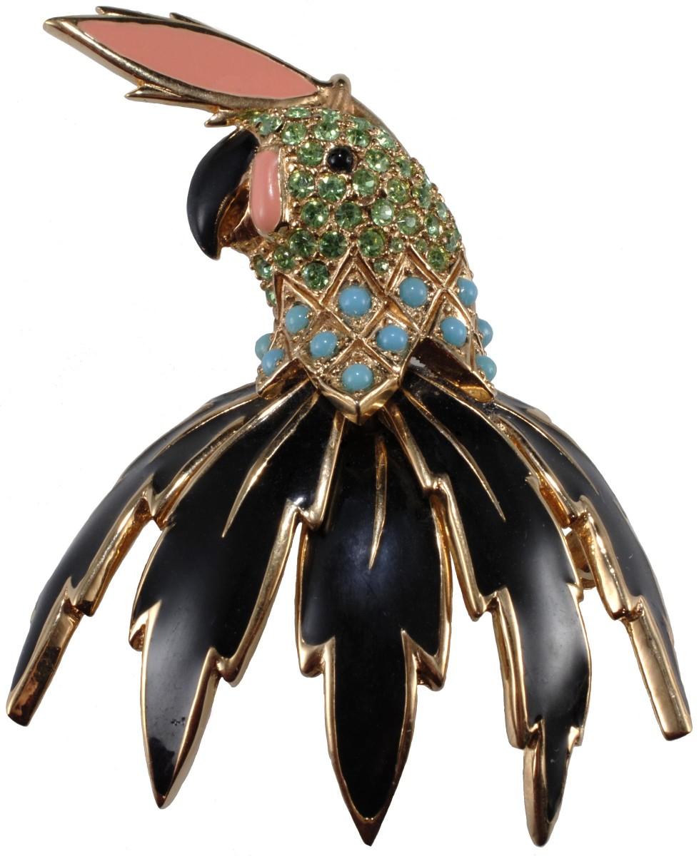 Ciner enameled bird brooch