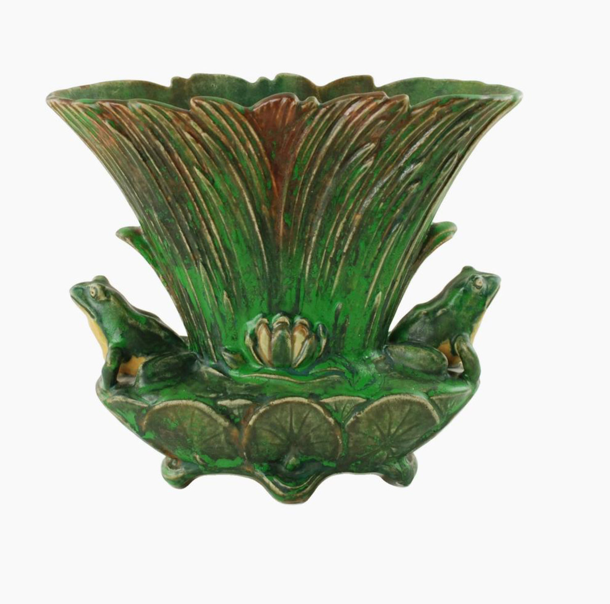 The authentic 1920s' fan-shaped Coppertone vase, with a series of overlapping reeds and featuring two lifelike dimensional frogs that are seated at either side of the reeds. The front and back of the piece bear molded cream-colored water lily flowers located at the center, while the lower portion is decorated in overlapping  lily pads. The piece is elevated on four feet; $1,250.