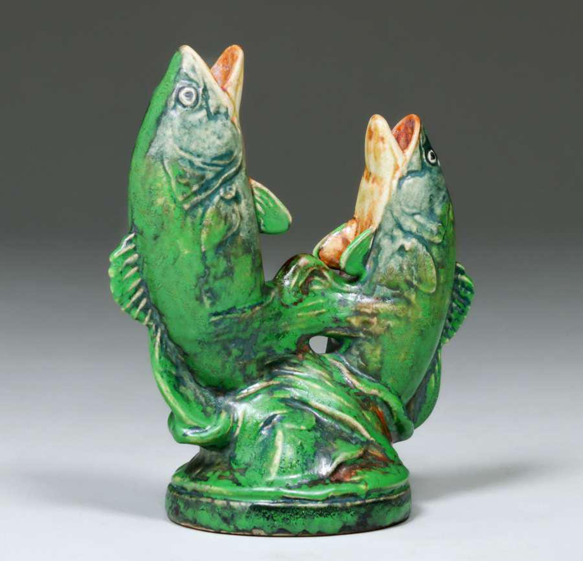 """Coppertone double-fish vase, signed, 8"""" h x 6-1/2"""" w x 4"""" d, the kiln mark is shown below; $1,000."""